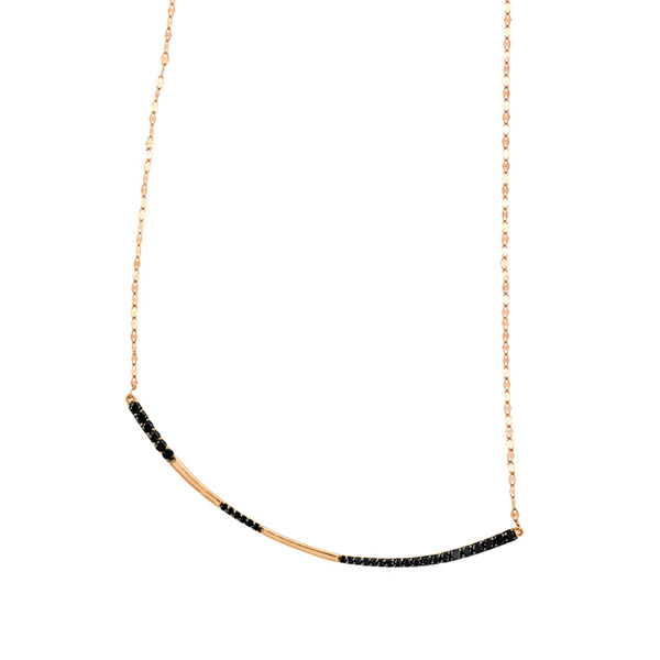 Lana Rose Gold Black Diamond Curve Necklace LN005465 Jewelry