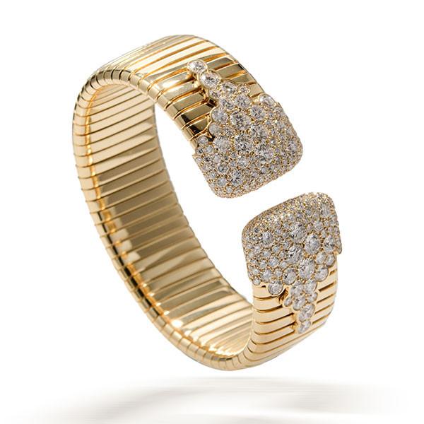 Yellow Gold Wide Diamond Cuff Bracelet