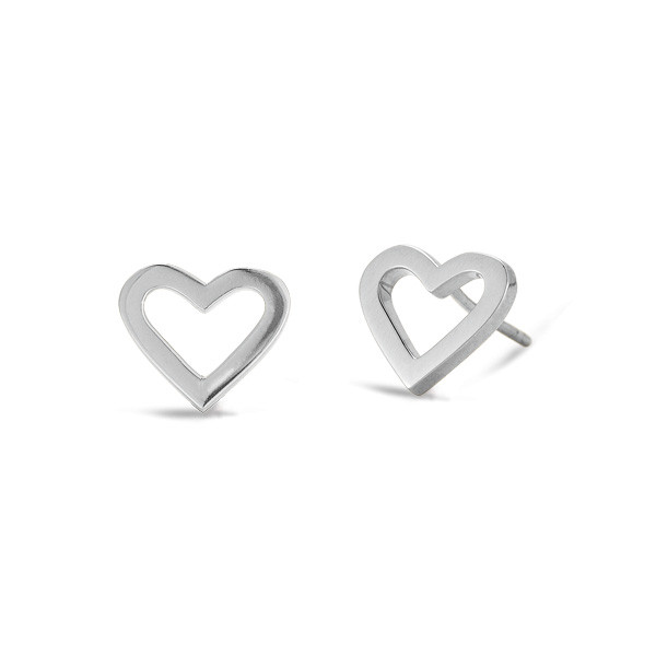 Roberto Coin Open Heart White Gold Stud Earrings