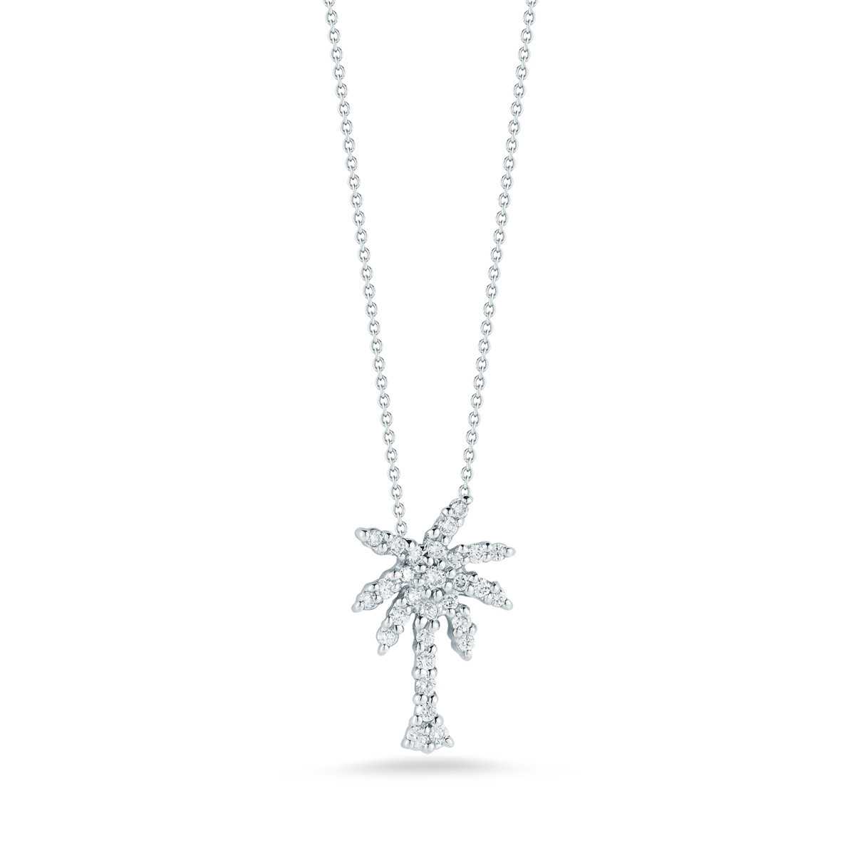 Roberto Coin Tiny Treasures White Gold Diamond Palm Tree Necklace