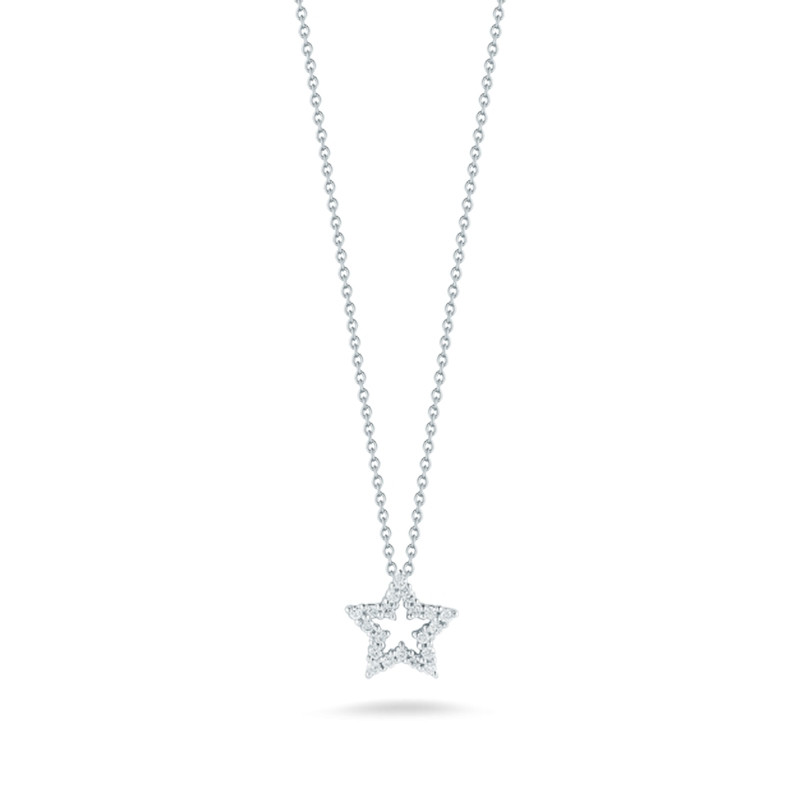 Roberto Coin White Gold Tiny Treasures Diamond Star Pendant Necklace