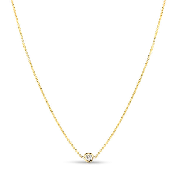 Roberto Coin Yellow Gold Diamonds By The Inch Single Diamond Pendant Necklace