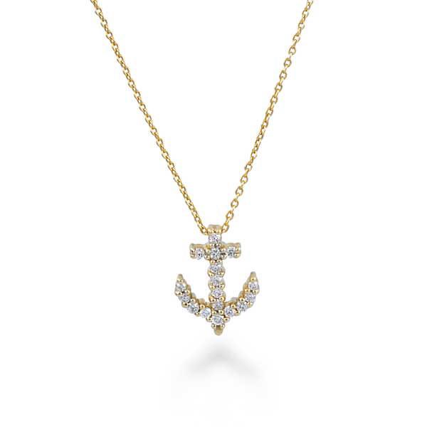 Roberto Coin Yellow Gold Diamond Anchor Pendant