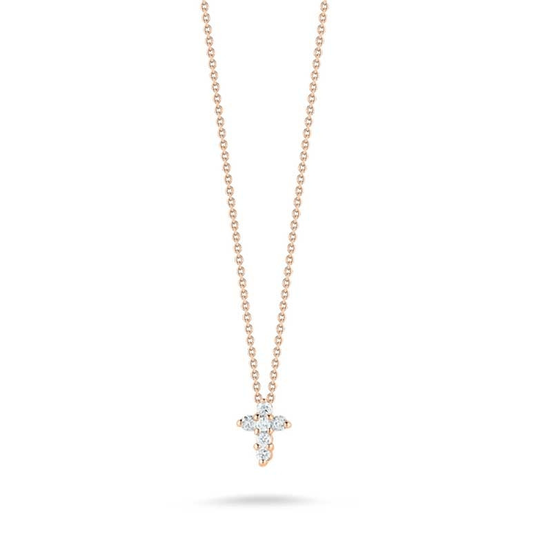 Roberto Coin Tiny Treasures Rose Gold Diamond Baby Cross Necklace