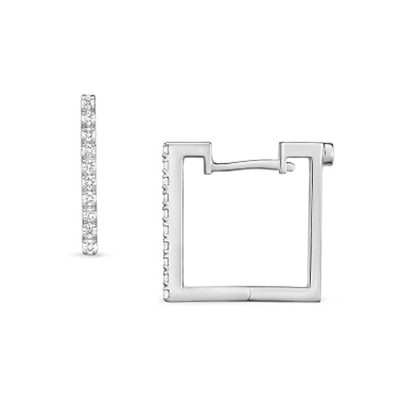 Roberto Coin Diamond White Gold Square Hoop Earrings