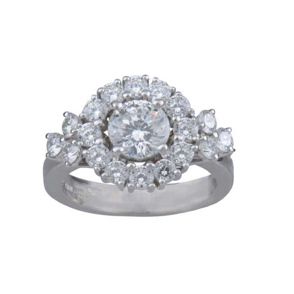Roberto Coin Cento Gold Diamond Flower Cluster Engagement Ring Top