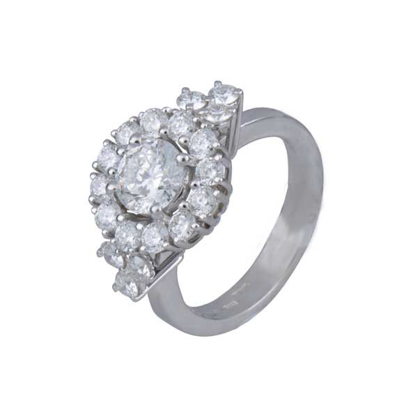 Roberto Coin Cento Gold Diamond Flower Cluster Engagement Ring Angle View
