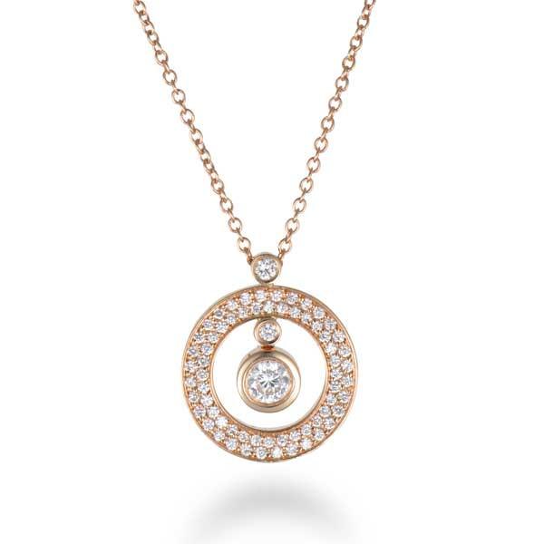 Roberto Coin Cento Rose Gold Cirlcle Diamond Pendant