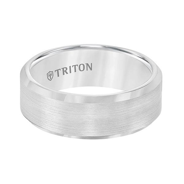 Triton White Tungsten Carbide Bevel Edge Band Flat View