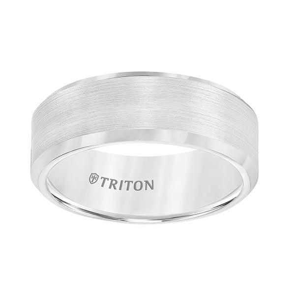 Triton White Tungsten Carbide Bevel Edge Band Flat Up View