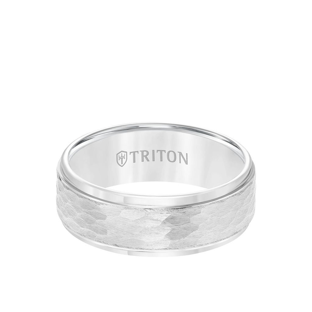 Triton Tungsten Carbide Hammered Comfort Fit Band Front View
