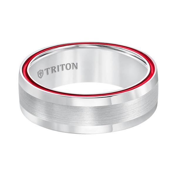 Triton Dome White TungstenAIR & Fire Red Satin Band Front View