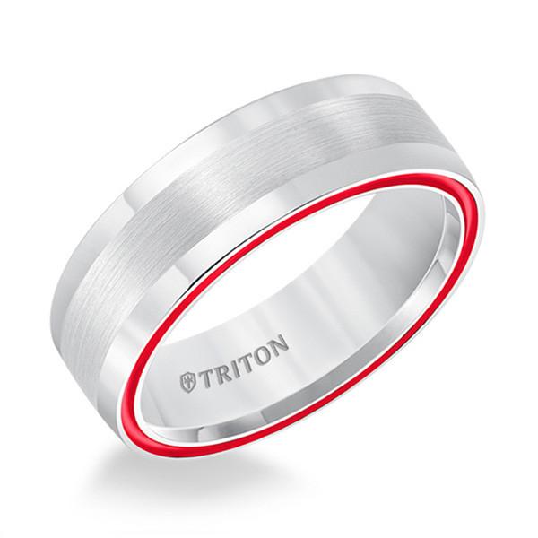 Triton Dome White TungstenAIR & Fire Red Satin Band