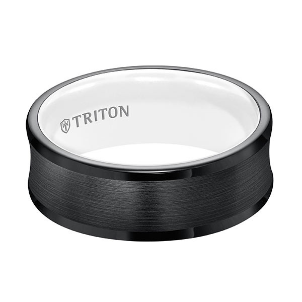 Triton Concave Black TungstenAIR & Arctic White Comfort Fit Band Flat View