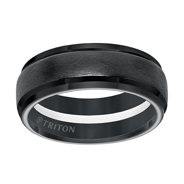 Triton Black TungstenAIR Step Edge Arctic White Stripe Comfort Fit Band Flat Up View