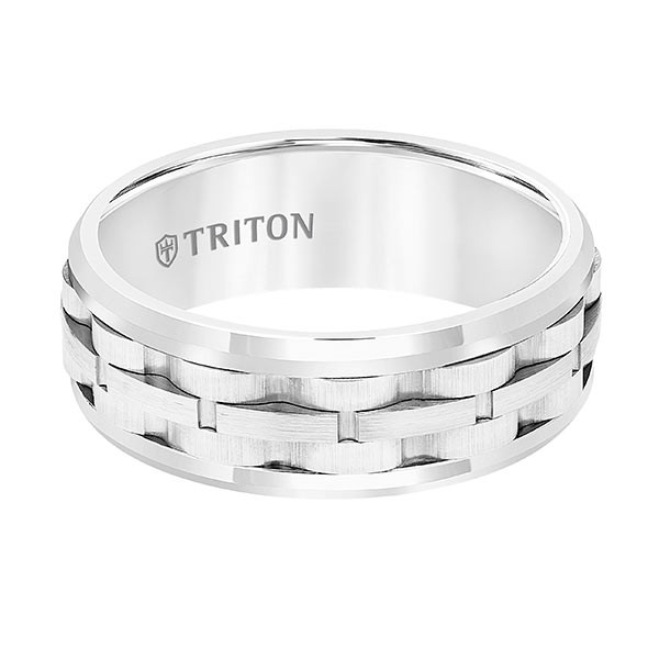 Triton White Tungsten Carbide Link Center Band Flat View