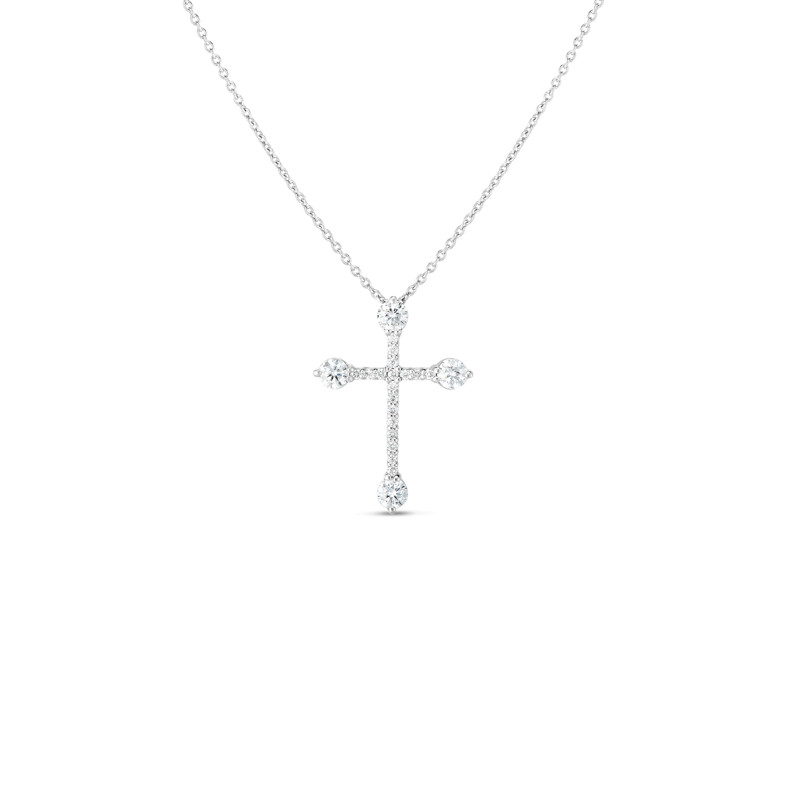 Roberto Coin Diamond Cross Necklace in 18K White Gold