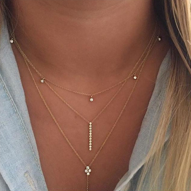 Zoe Chicco Yellow Gold Diamond Station Necklace on Model