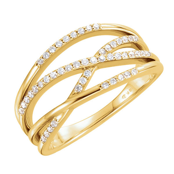Yellow Gold Multi Crossover Diamond Ring
