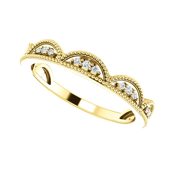 Yellow Gold Diamond Scalloped Stackable Ring