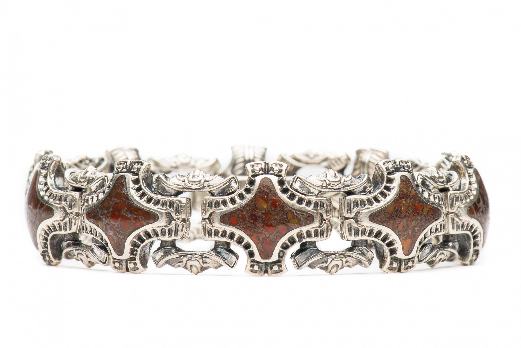 William Henry Red Fossil Silver Link Bracelet Front View