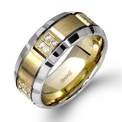 Simon G LL112 Two Tone Diamond Cluster Men's Wedding Band