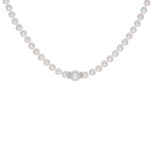 Mikimoto White South Sea Pearl Diamond Rondel Necklace
