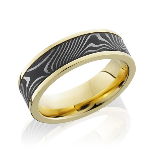 Lashbrook 7mm Flattwist Damascus Inlay Yellow Gold Band