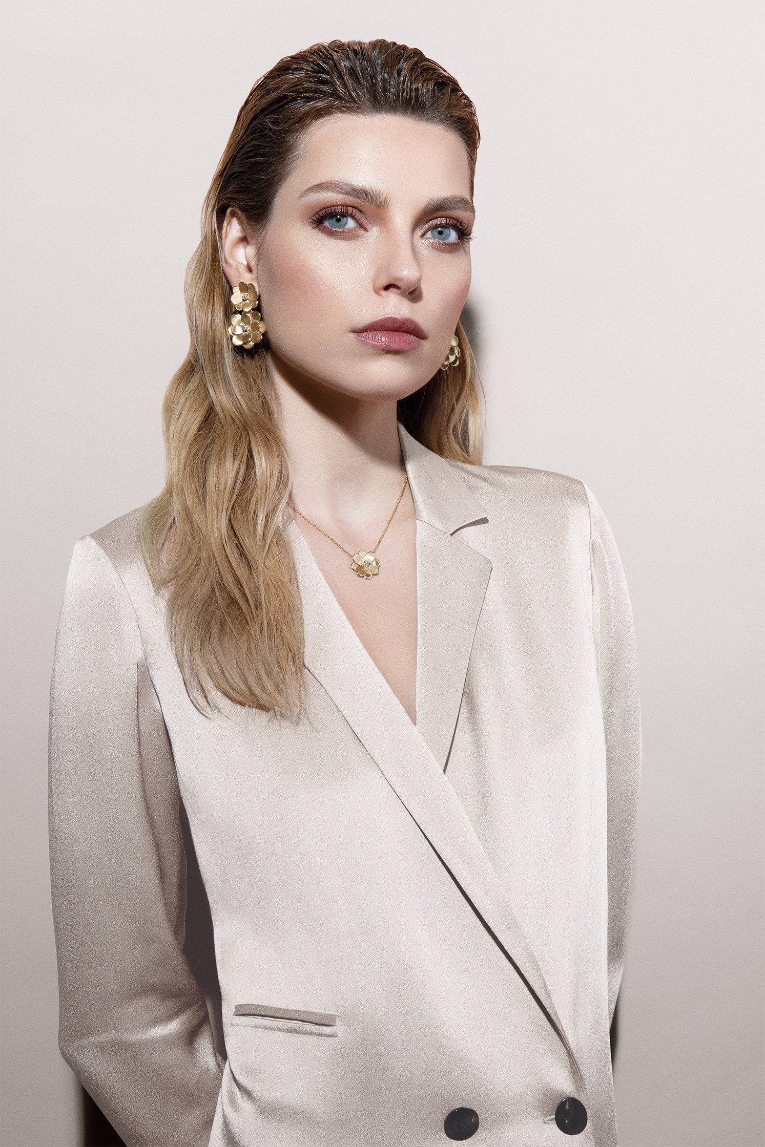 Marco Bicego Petali Double Flower Drop Earrings model view