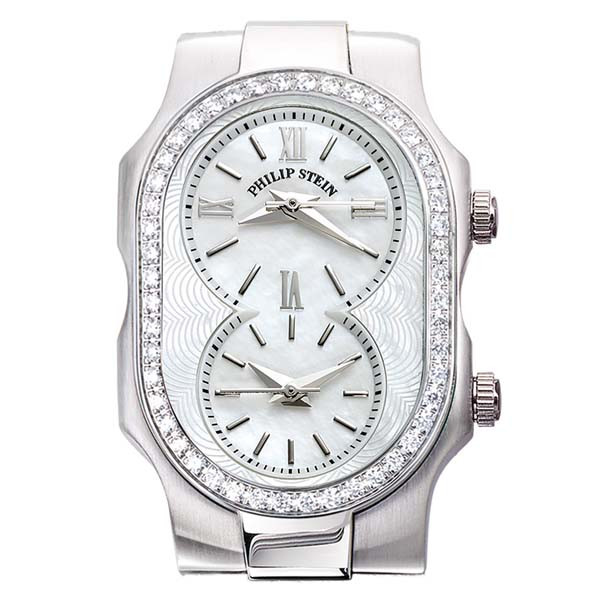 Philip Stein Stainless Steel Single Diamond Bezel Mother of Pearl Dial Watch