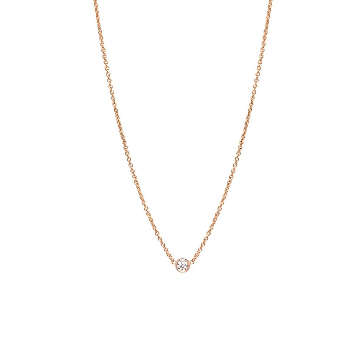 Zoe Chicco Single Diamond Bezel Necklace rose gold