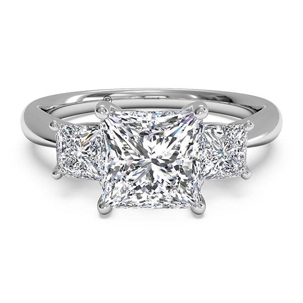 Ritani Three-Stone Princess Engagement Mounting