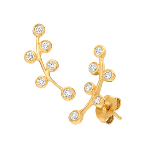 Yellow Gold Diamond Vine Ear Climbers
