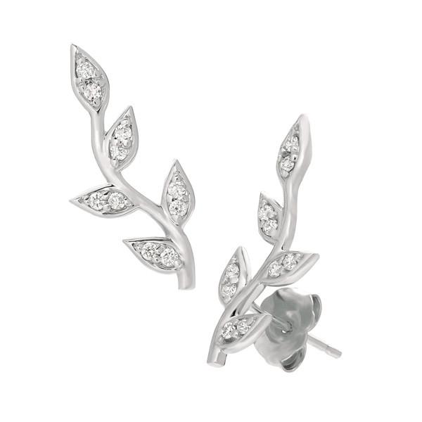 White Gold Diamond Angled Vine Ear Climbers