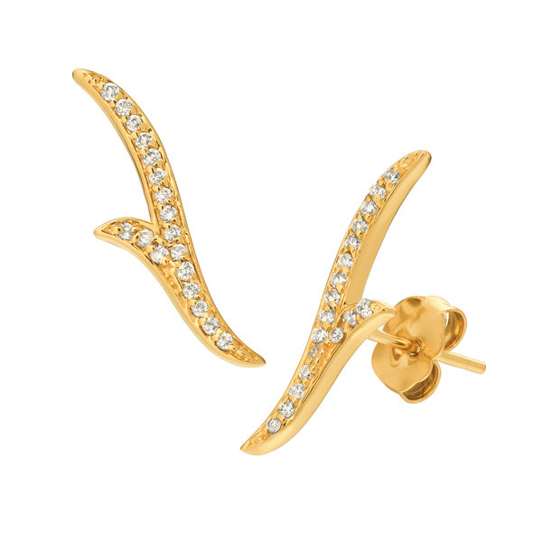 Yellow Gold Diamond Split Ear Climbers