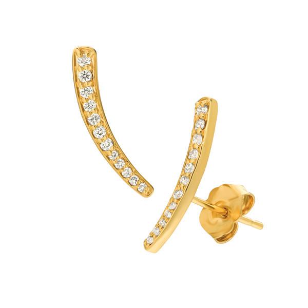 Small Yellow Gold Diamond Ear Climbers