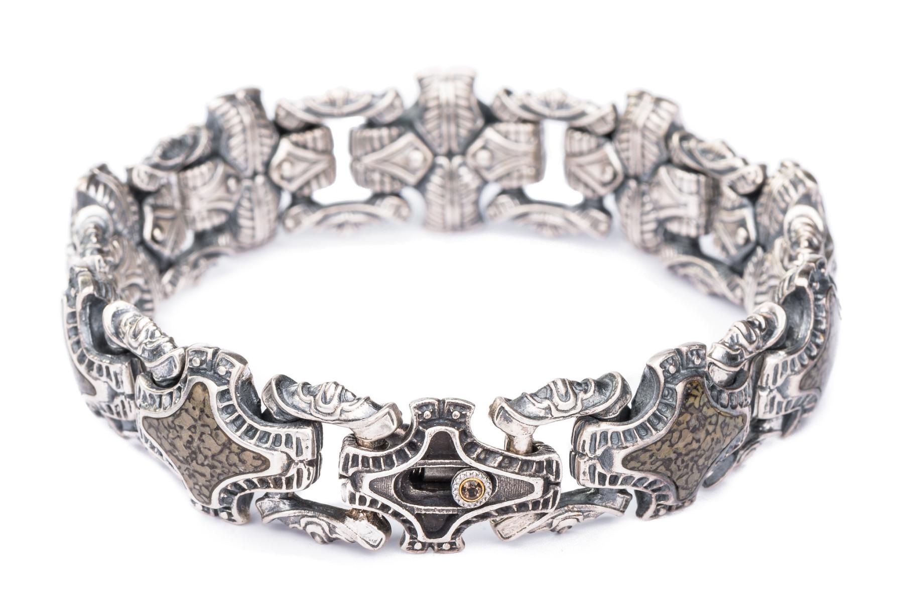 William Henry Green Fossil Silver Link Bracelet