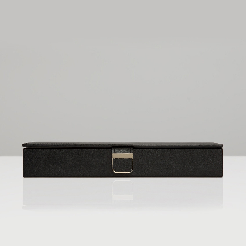 Wolf Black Palermo Anthracite Leather Safe Deposit Box Front View