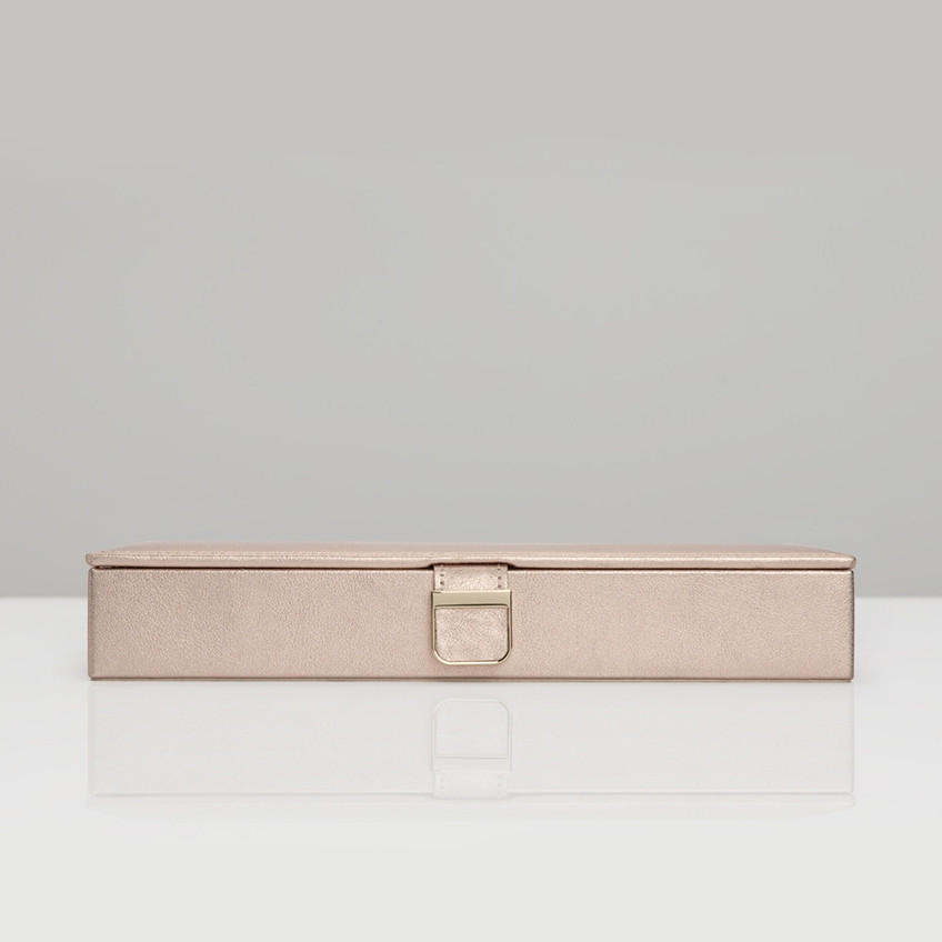 Wolf Rose Gold Leather Palermo Safe Deposit Box Front View
