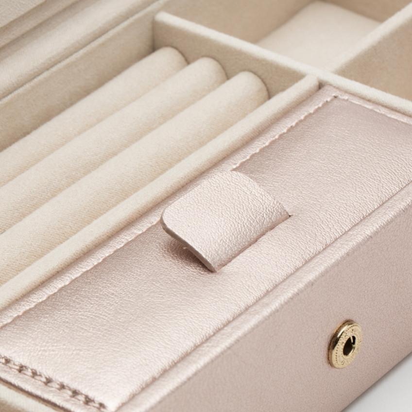 Wolf Rose Gold Leather Palermo Safe Deposit Box
