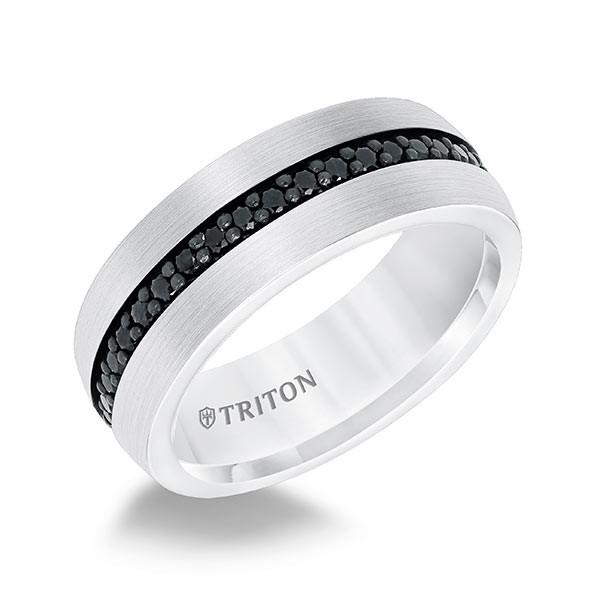 Triton White Tungsten Black Sapphire Comfort Fit Band Angle View