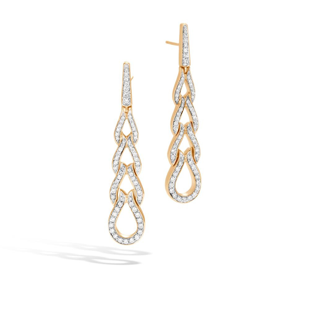 John Hardy Classic Chain Link Diamond Drop Earrings