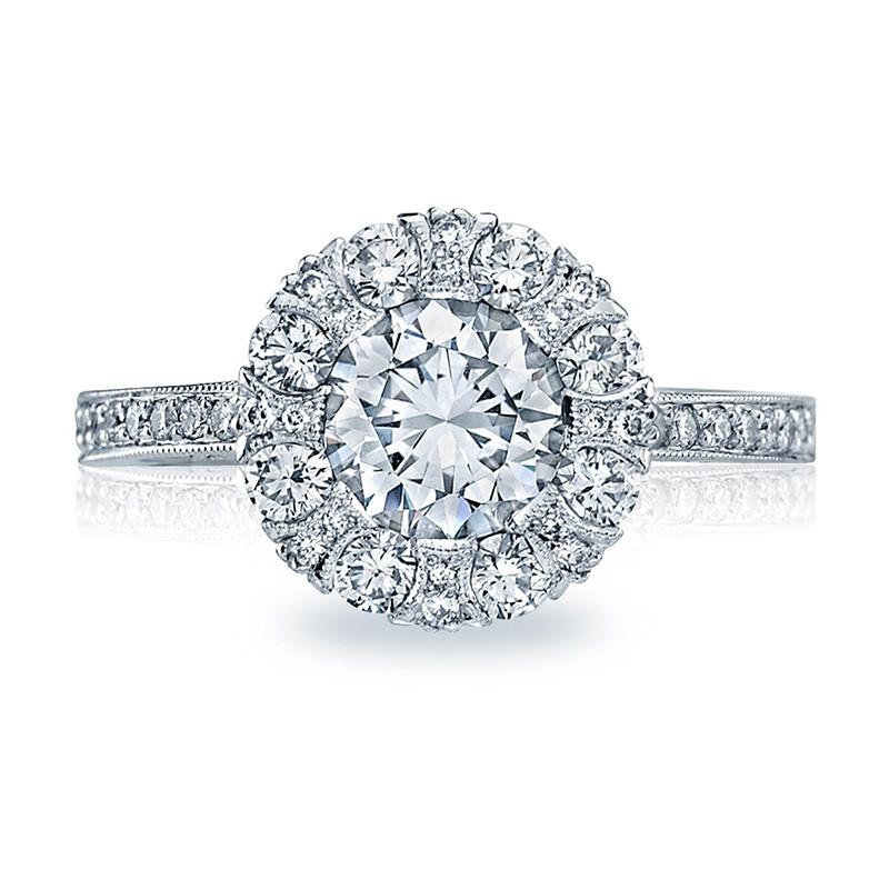 Tacori 2642RD5.5 Platinum Bloom Engagement Ring Simply Tacori Setting Top View