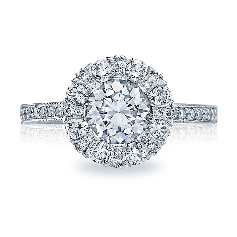 Tacori 2642RD6.5 White Gold Bloom Engagement Ring Simply Tacori Setting Top View