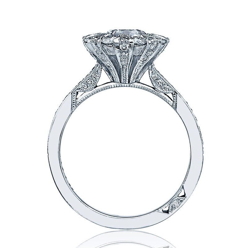 Tacori 2642RD5.5 Platinum Bloom Engagement Ring Simply Tacori Setting Edge View