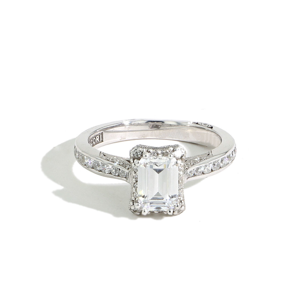 Tacori Dantela Halo Pave Engagement Ring Emerald Cut Diamond 2646 2 5 Ec 7x5