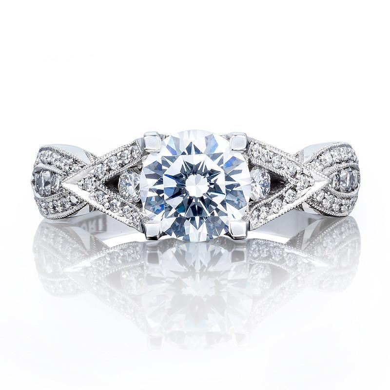Tacori 2647RD6.5 Diamond White Gold Engagement Ring Ribbon Setting Top View
