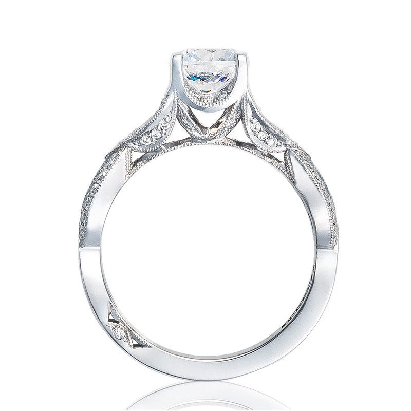 Tacori 2647RD6.5 Diamond White Gold Engagement Ring Ribbon Setting Edge View