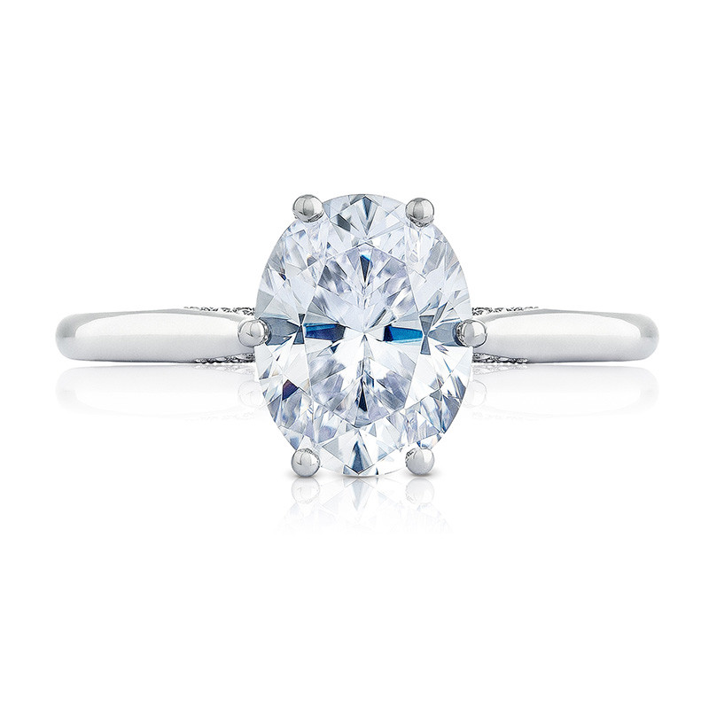 Tacori 2650OV8X6 Platinum Oval Solitaire Engagement Ring Simply Tacori Setting Top View