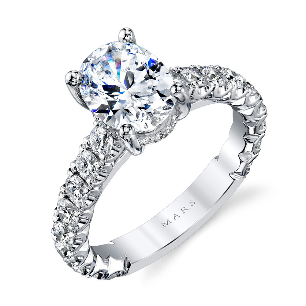 MARS Ever After White Gold Diamond Oval Engagement Ring Setting Angle View